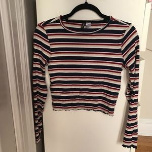 H&M navy red and beige striped crop top